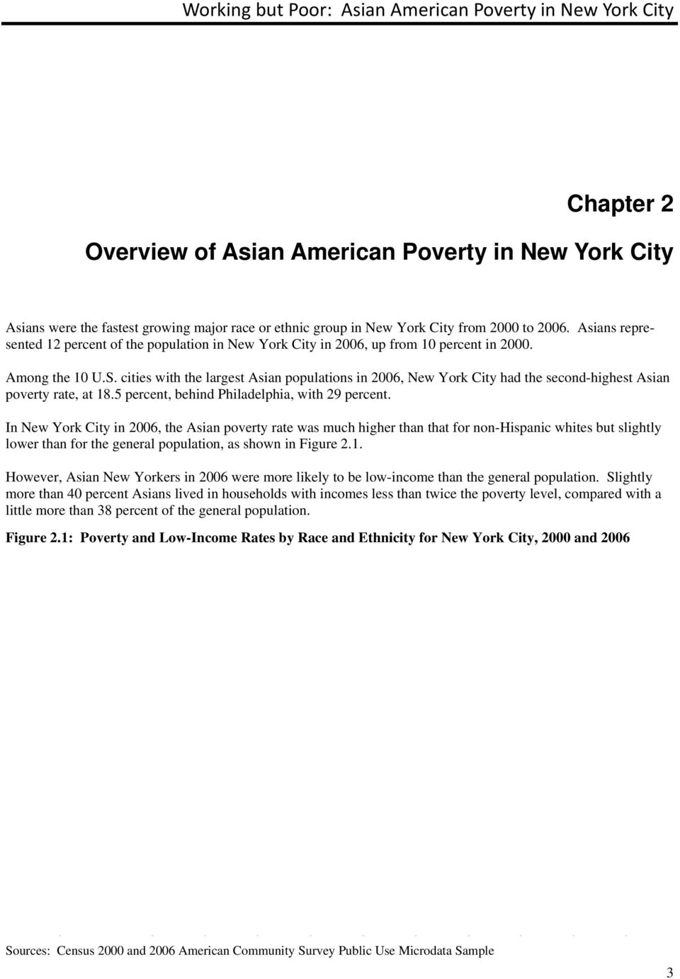 cities with the largest Asian populations in 2006, New York City had the second-highest Asian poverty rate, at 18.5 percent, behind Philadelphia, with 29 percent.