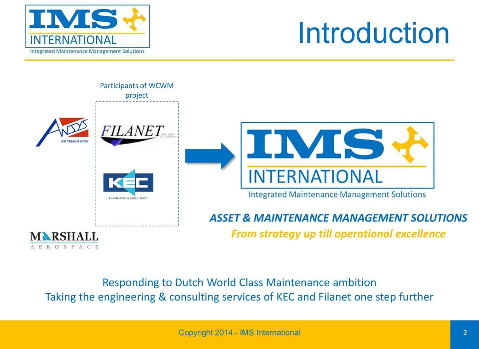 World Class Maintenance ambition Taking the engineering & consulting