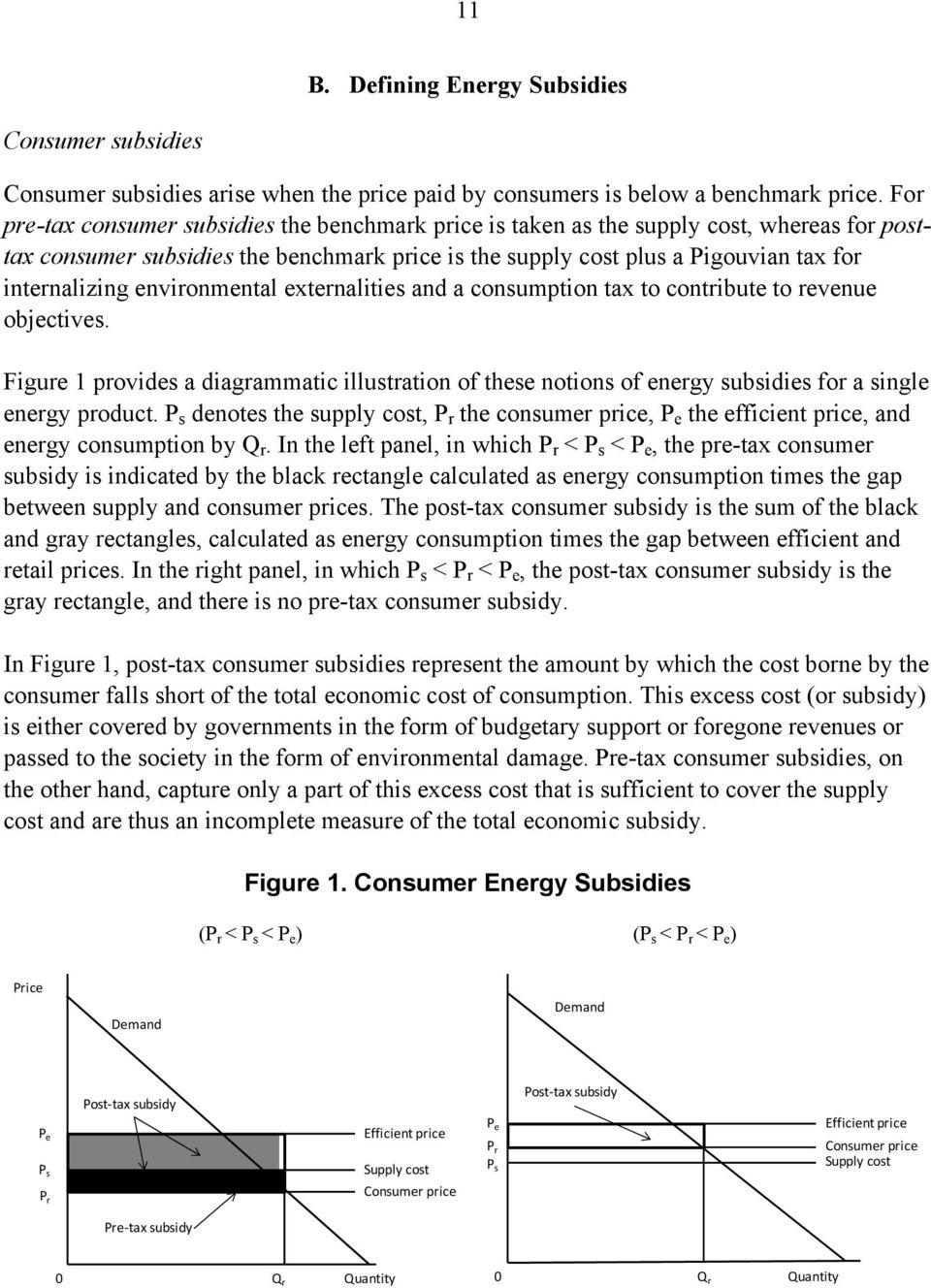 environmental externalities and a consumption tax to contribute to revenue objectives. Figure 1 provides a diagrammatic illustration of these notions of energy subsidies for a single energy product.