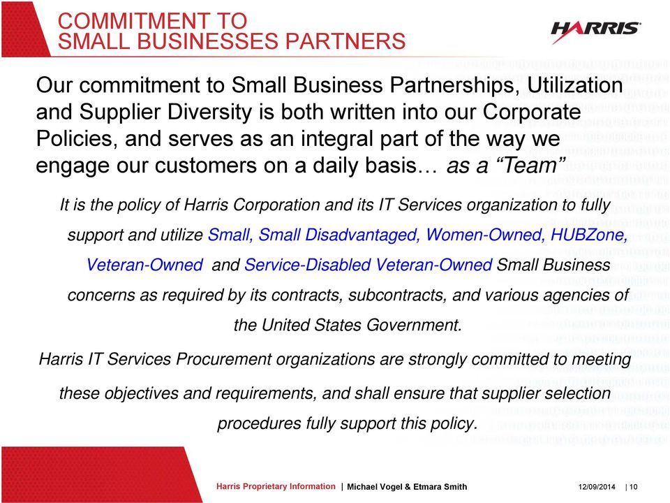 Women-Owned, HUBZone, Veteran-Owned and Service-Disabled Veteran-Owned Small Business concerns as required by its contracts, subcontracts, and various agencies of the United States Government.