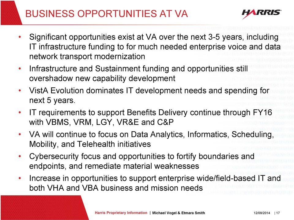 IT requirements to support Benefits Delivery continue through FY16 with VBMS, VRM, LGY, VR&E and C&P VA will continue to focus on Data Analytics, Informatics, Scheduling, Mobility, and Telehealth