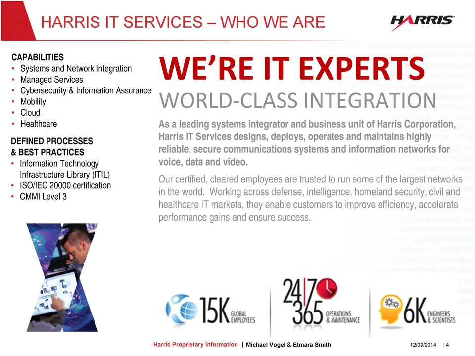 Corporation, Harris IT Services designs, deploys, operates and maintains highly reliable, secure communications systems and information networks for voice, data and video.