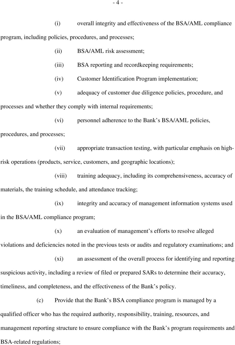 (vi) personnel adherence to the Bank s BSA/AML policies, procedures, and processes; (vii) appropriate transaction testing, with particular emphasis on highrisk operations (products, service,