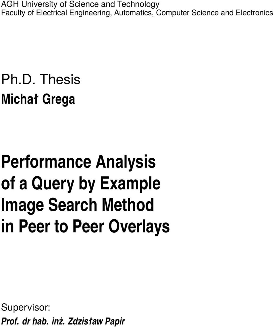 Thesis Michał Grega Performance Analysis of a Query by Example Image