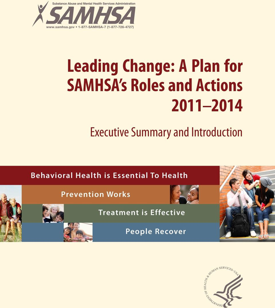 for SAMHSA s Roles and Actions 2011 2014 Executive Summary