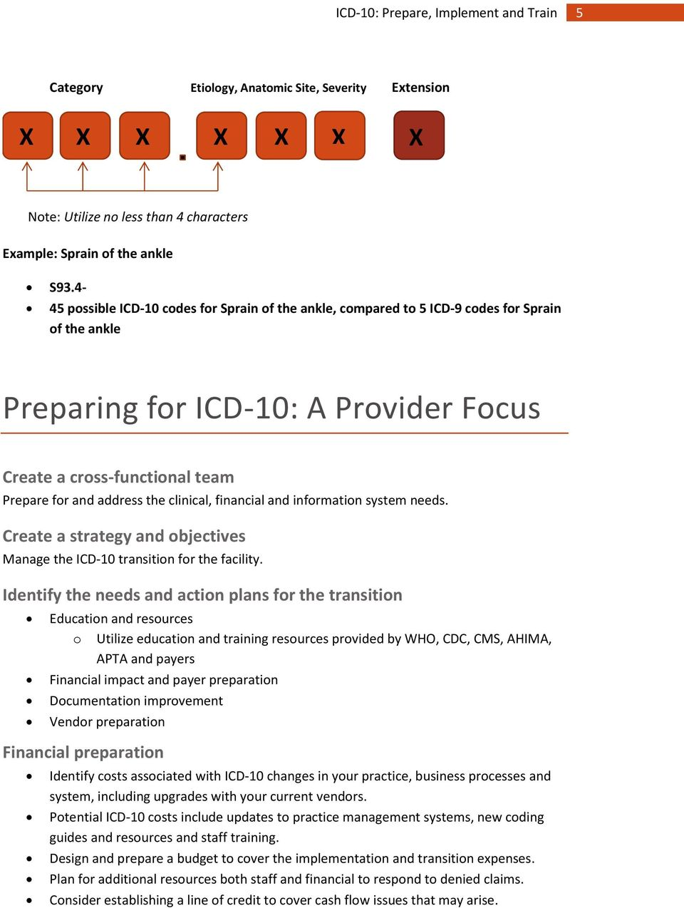 clinical, financial and information system needs. Create a strategy and objectives Manage the ICD-10 transition for the facility.