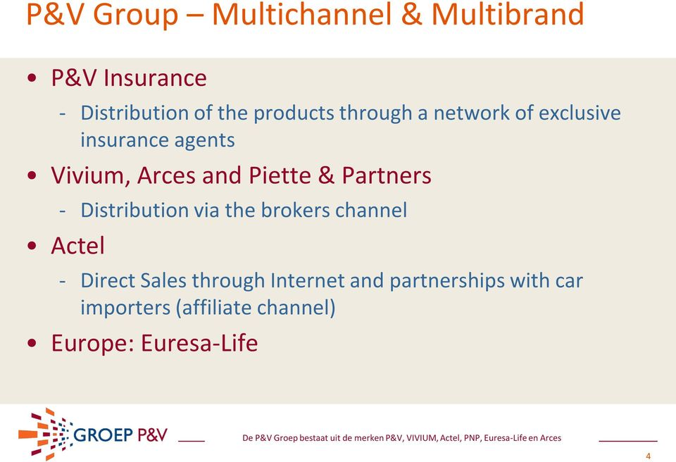 Piette & Partners - Distribution via the brokers channel Actel - Direct Sales