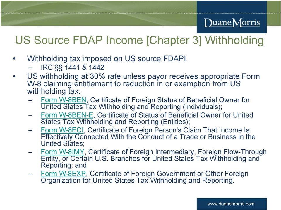 Us Tax Issues For Foreign Partners Us Withholding Taxes Tax