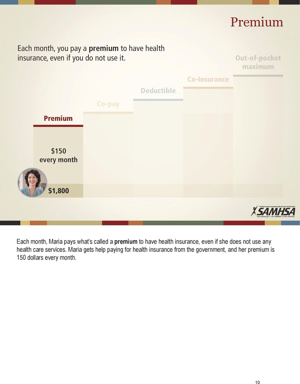 pays what s called a premium to have health insurance, even if she does not use any health care