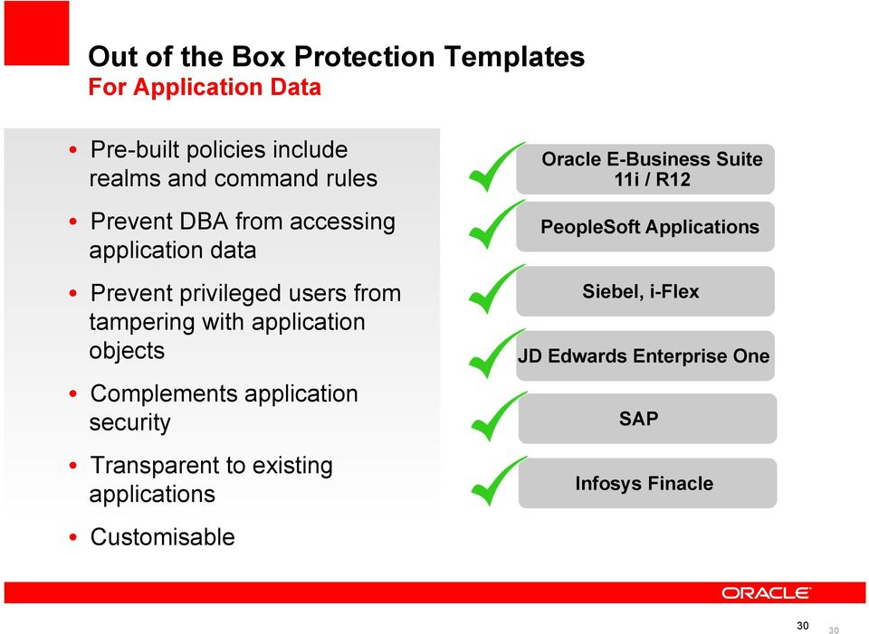 objects Complements application security Transparent to existing applications Customisable Oracle