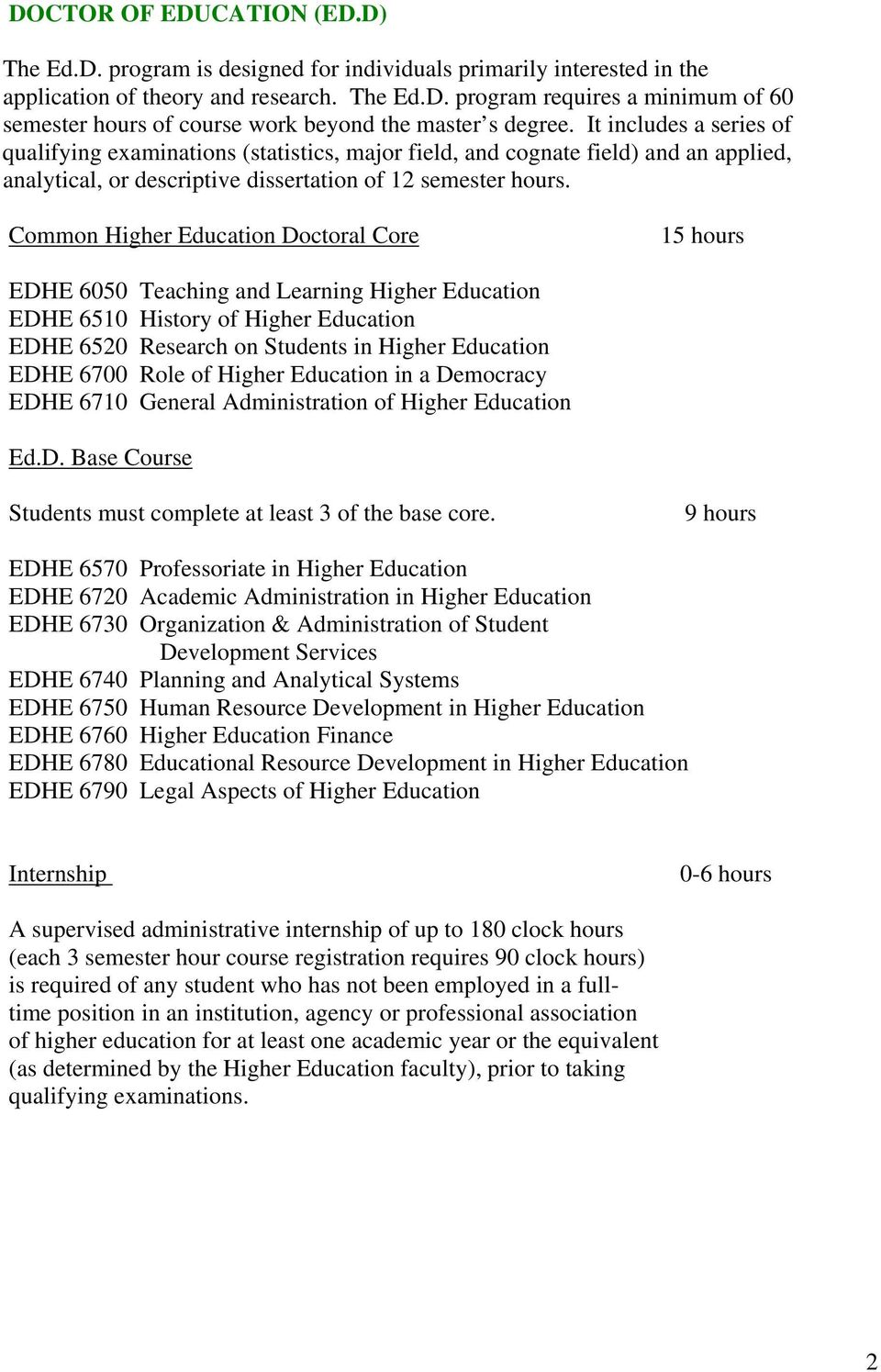 Common Higher Education Doctoral Core 15 hours EDHE 6050 Teaching and Learning Higher Education EDHE 6510 History of Higher Education EDHE 6520 Research on Students in Higher Education EDHE 6700 Role