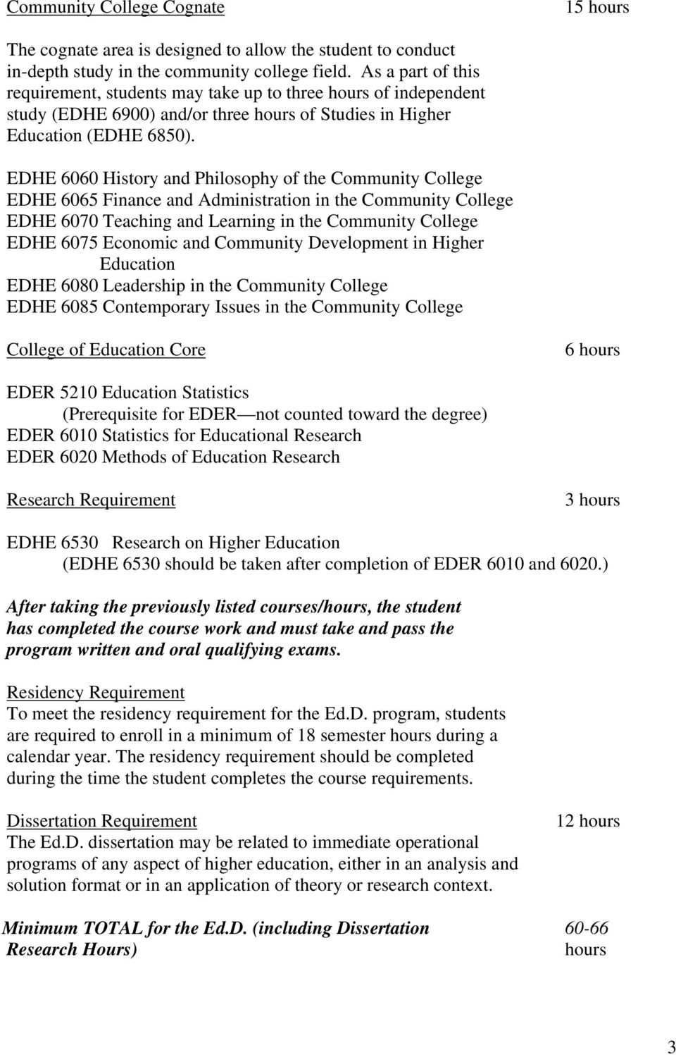 EDHE 6060 History and Philosophy of the Community College EDHE 6065 Finance and Administration in the Community College EDHE 6070 Teaching and Learning in the Community College EDHE 6075 Economic and