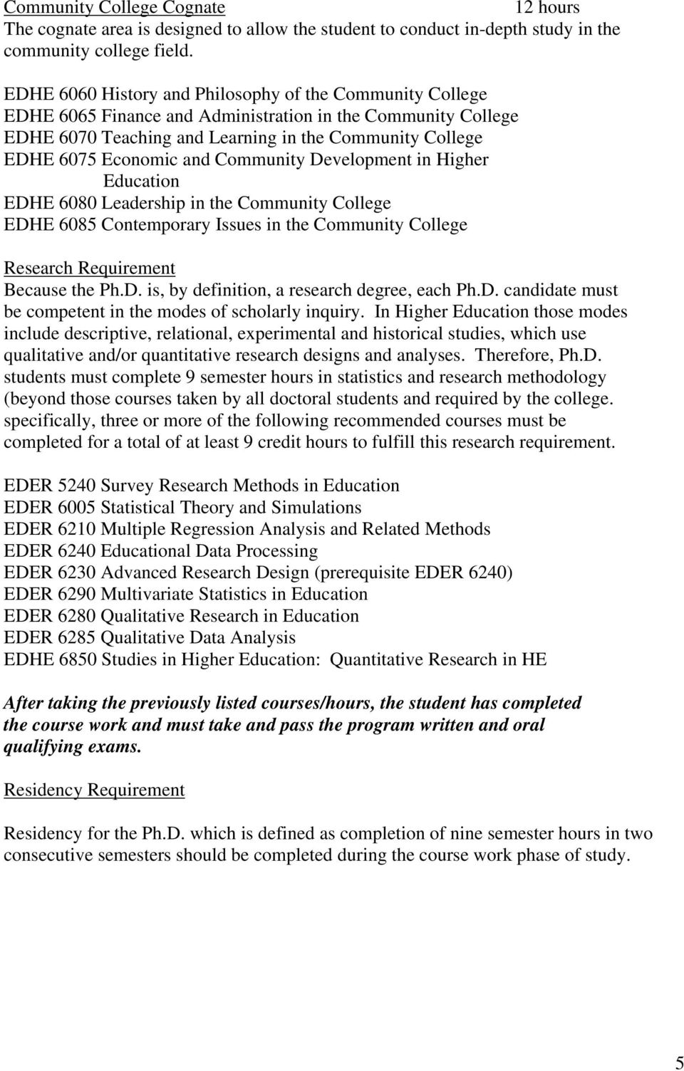 Community Development in Higher Education EDHE 6080 Leadership in the Community College EDHE 6085 Contemporary Issues in the Community College Research Requirement Because the Ph.D. is, by definition, a research degree, each Ph.