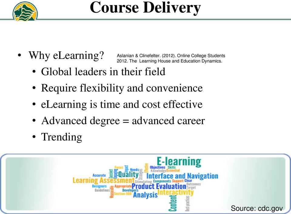 elearning is time and cost effective Advanced degree = advanced career