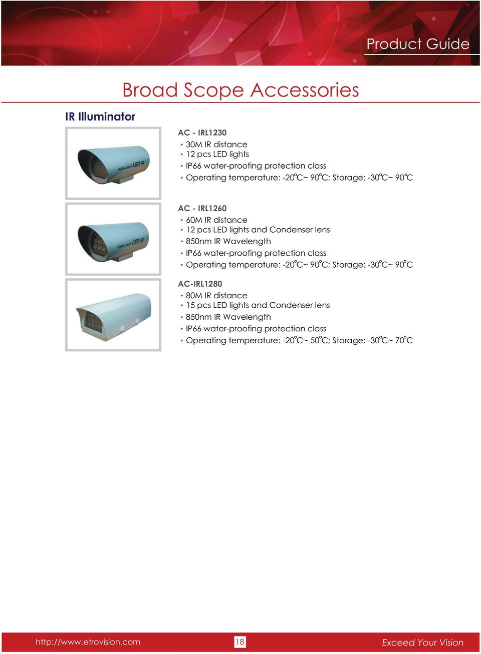 IP66 water-proofing protection class Operating temperature: -20 C~ 90 C; Storage: -30 C~ 90 C AC-IRL1280 80M IR distance 15 pcs LED