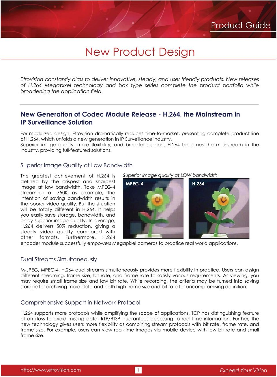 264, the Mainstream in IP Surveillance Solution For modulized design, Etrovision dramatically reduces time-to-market, presenting complete product line of H.