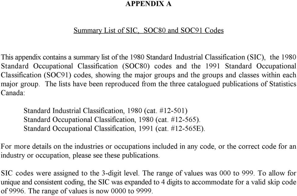 The lists have been reproduced from the three catalogued publications of Statistics Canada: Standard Industrial Classification, 1980 (cat. #12-501) Standard Occupational Classification, 1980 (cat.