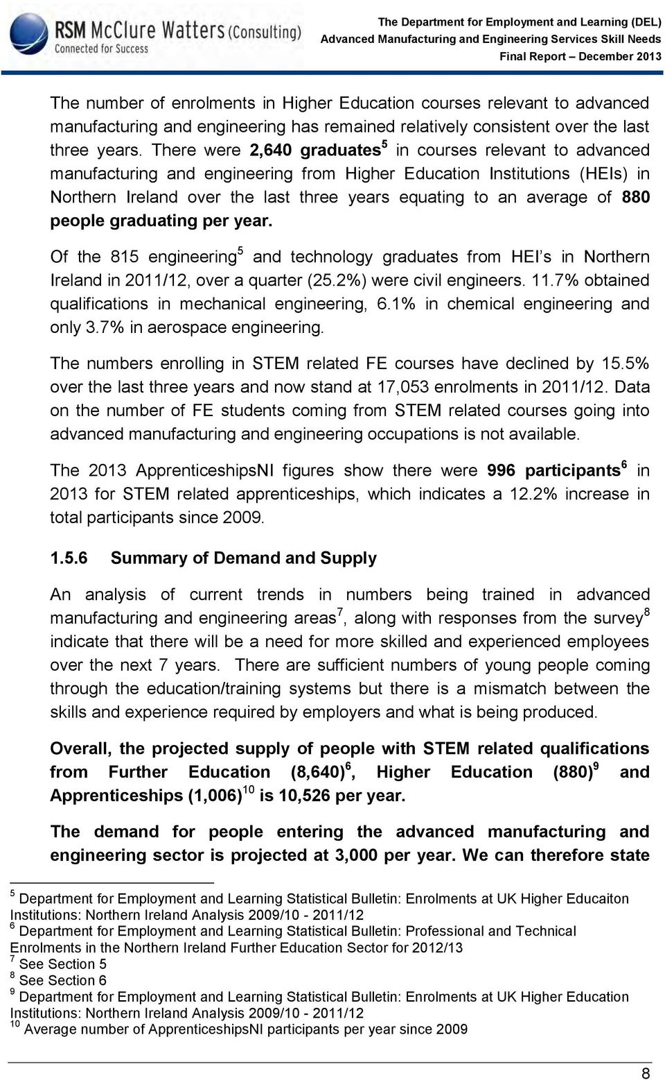 average of 880 people graduating per year. Of the 815 engineering 5 and technology graduates from HEI s in Northern Ireland in 2011/12, over a quarter (25.2%) were civil engineers. 11.