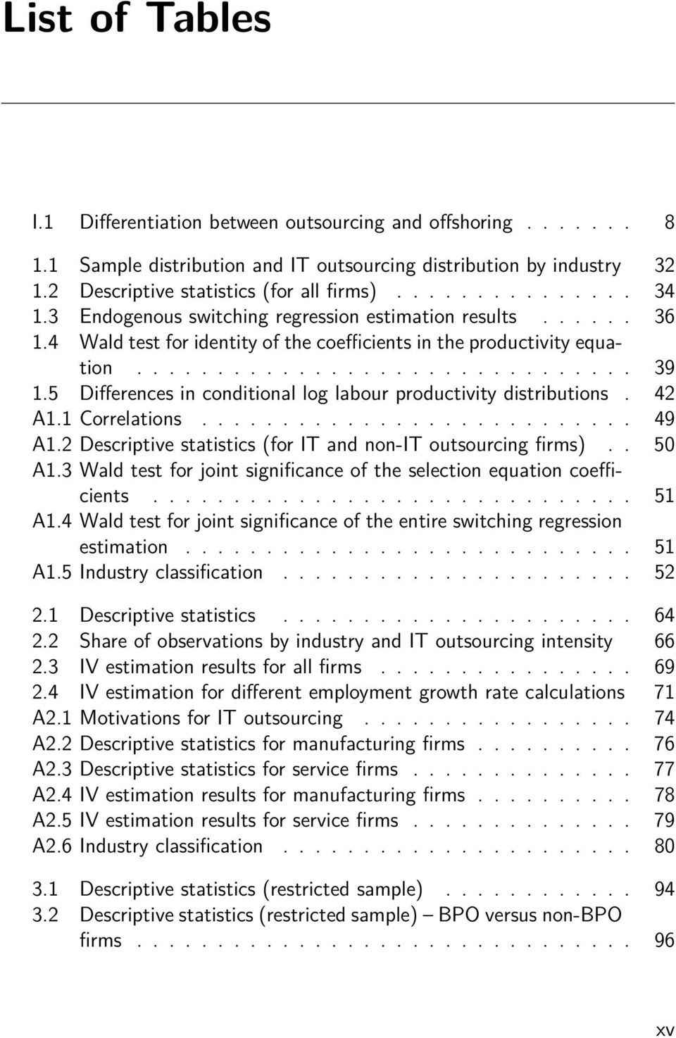 5 Differences in conditional log labour productivity distributions. 42 A1.1 Correlations........................... 49 A1.2 Descriptive statistics (for IT and non-it outsourcing firms).. 50 A1.