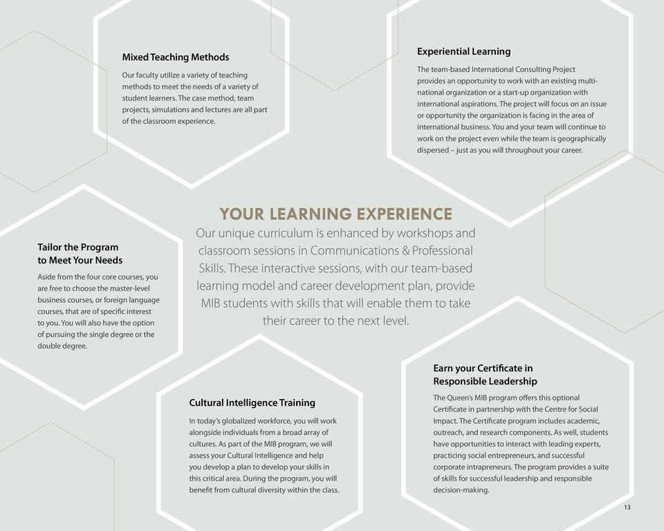 Experiential Learning The team-based International Consulting Project provides an opportunity to work with an existing multinational organization or a start-up organization with international