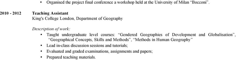 Gendered Geographies of Development and Globalisation, Geographical Concepts, Skills and Methods, Methods in Human