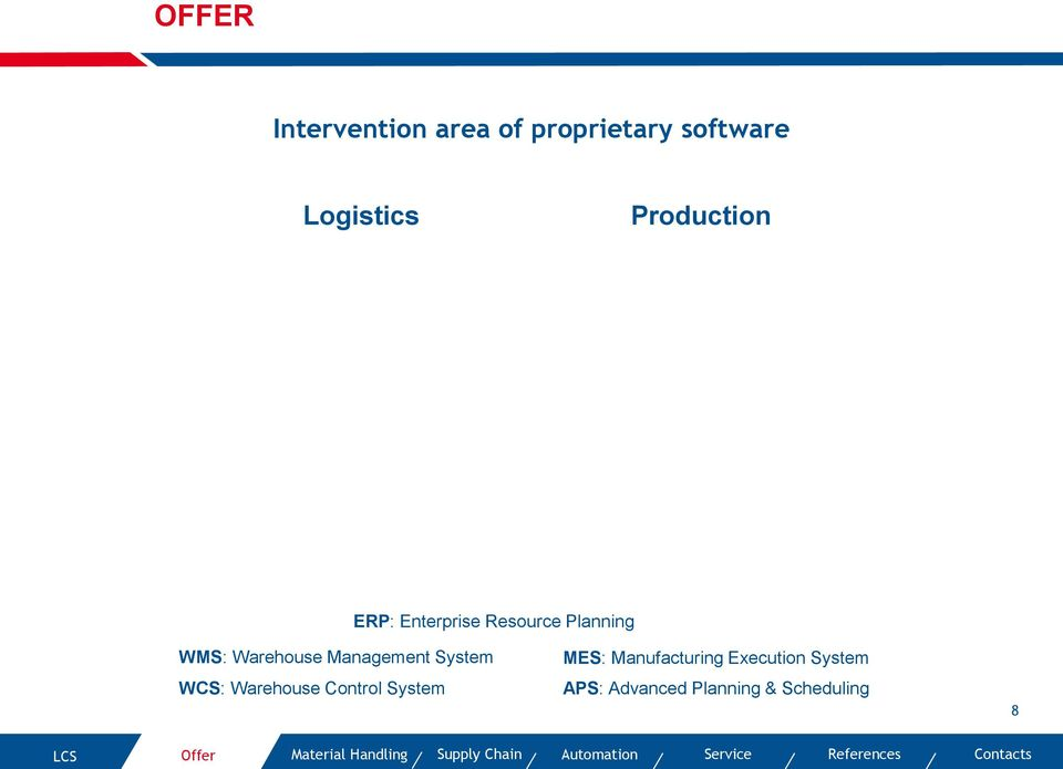 WMS: Warehouse Management System WCS: Warehouse Control System MES: Manufacturing Execution