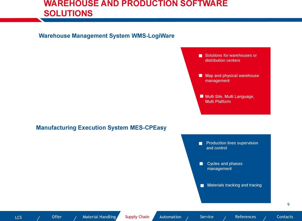 Multi Platform Manufacturing Execution System MES-CPEasy Production lines supervision and control Cycles