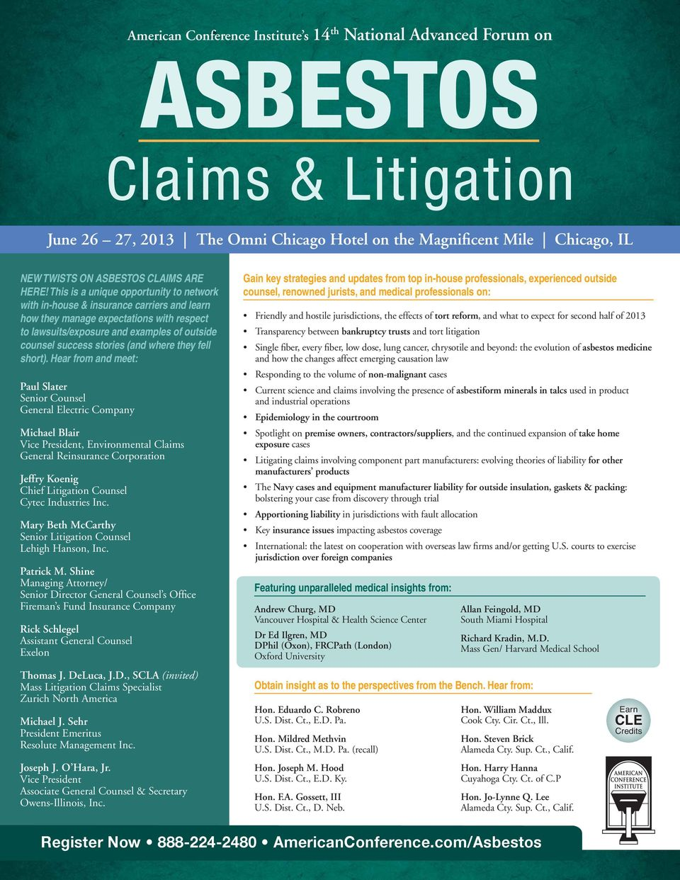 This is a unique opportunity to network with in-house & insurance carriers and learn how they manage expectations with respect to lawsuits/exposure and examples of outside counsel success stories