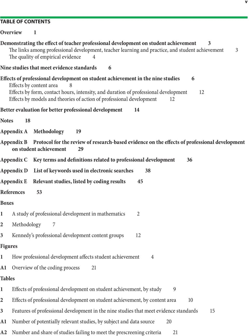 content area 8 Effects by form, contact hours, intensity, and duration of professional development 12 Effects by models and theories of action of professional development 12 Better evaluation for