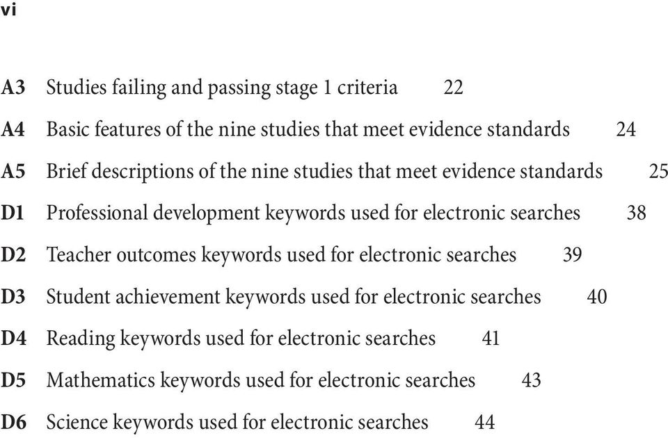 Teacher outcomes keywords used for electronic searches 39 D3 Student achievement keywords used for electronic searches 40 D4 Reading