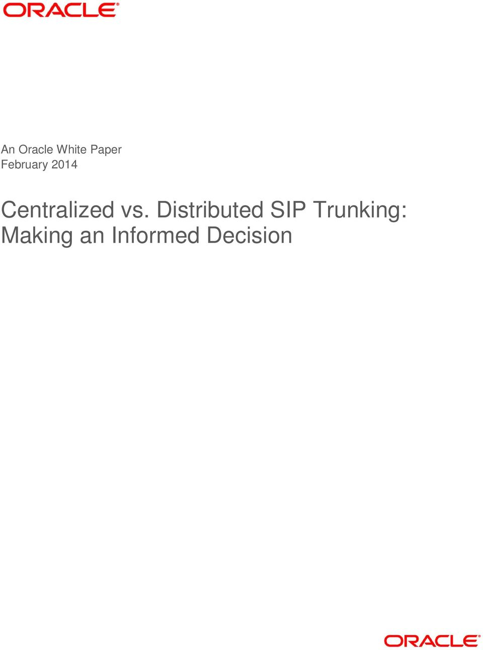 vs. Distributed SIP