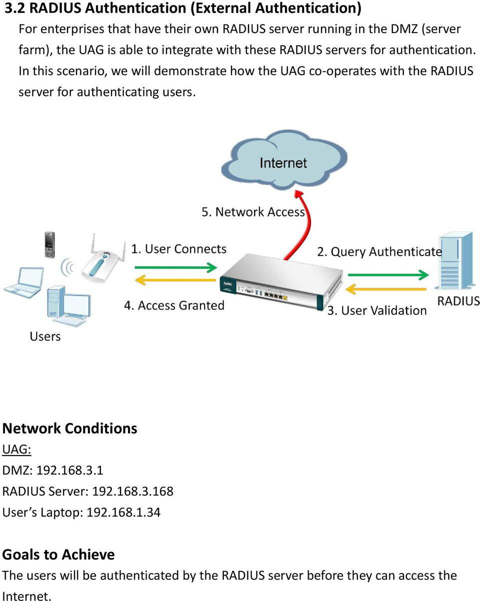 In this scenario, we will demonstrate how the UAG co-operates with the RADIUS server for authenticating users.