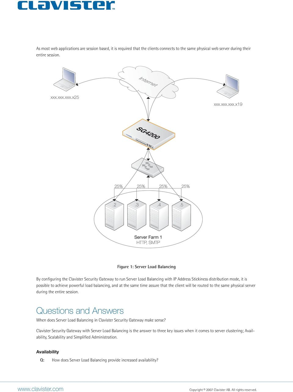 5 Server Farm 1 HTTP, SMTP Figure 1: Server Load Balancing By configuring the Clavister Security Gateway to run Server Load Balancing with IP Address Stickiness distribution mode, it is possible to