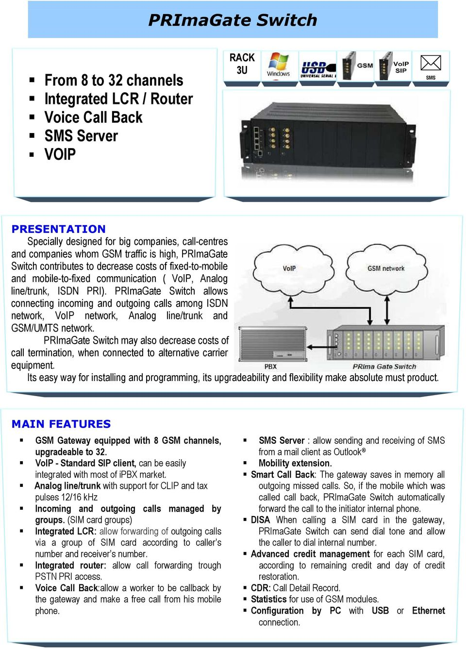 PRImaGate Switch allows connecting incoming and outgoing calls among ISDN network, VoIP network, Analog line/trunk and GSM/UMTS network.