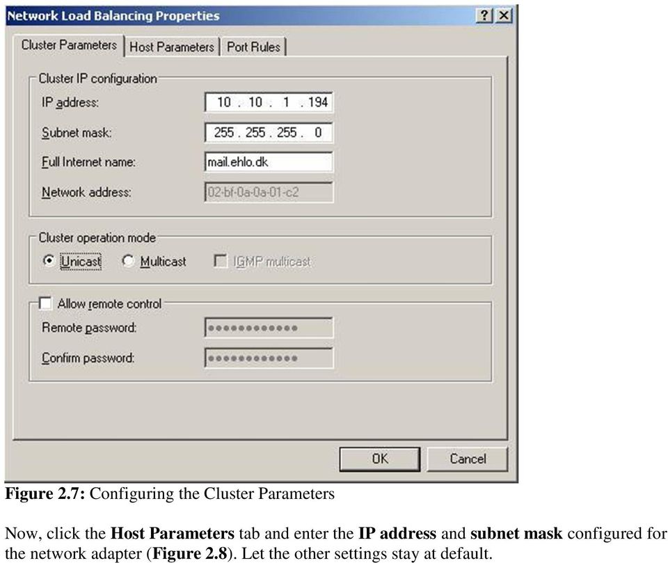 Host Parameters tab and enter the IP address and