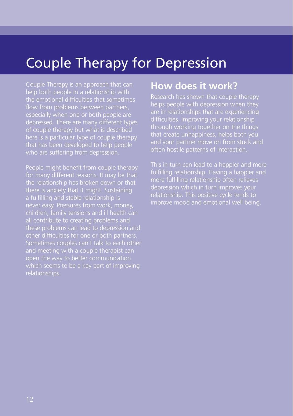There are many different types of couple therapy but what is described here is a particular type of couple therapy that has been developed to help people who are suffering from depression.
