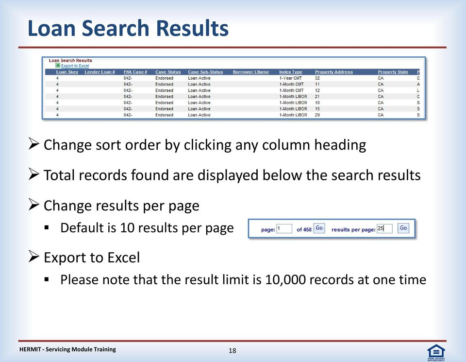 Change results per page Default is 10 results per page Export to