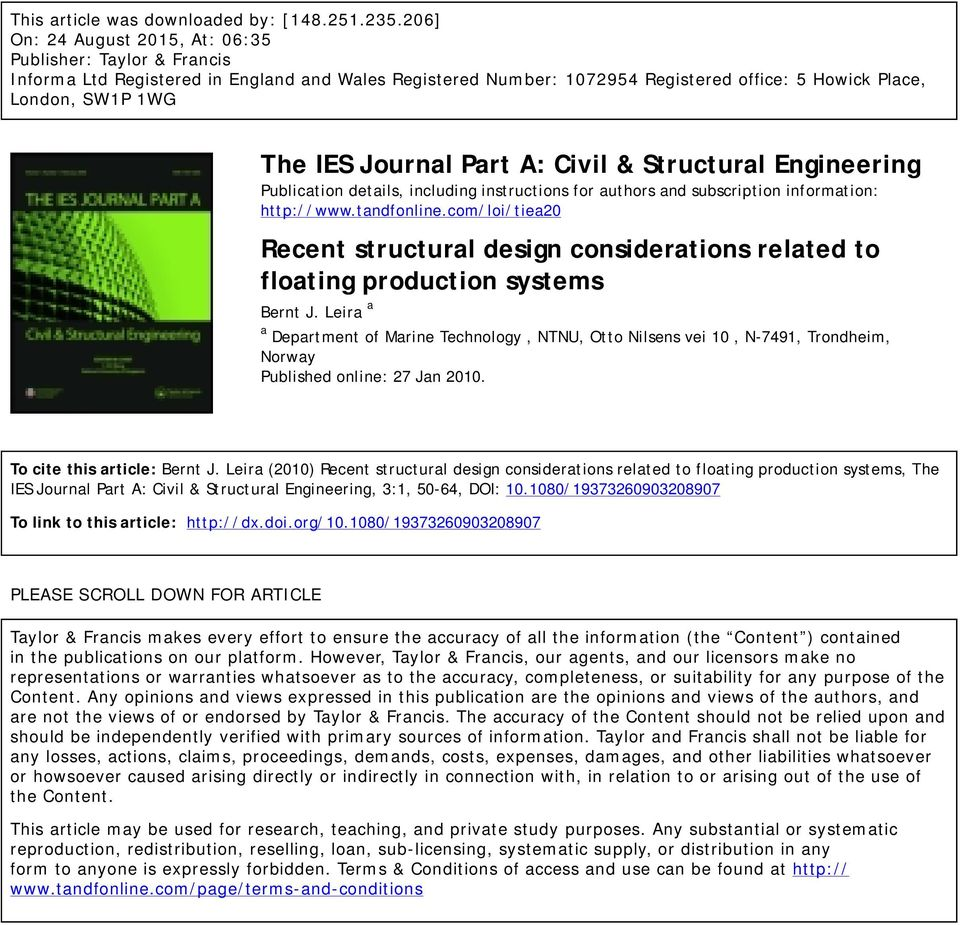 Journal Part A: Civil & Structural Engineering Publication details, including instructions for authors and subscription information: http://www.tandfonline.