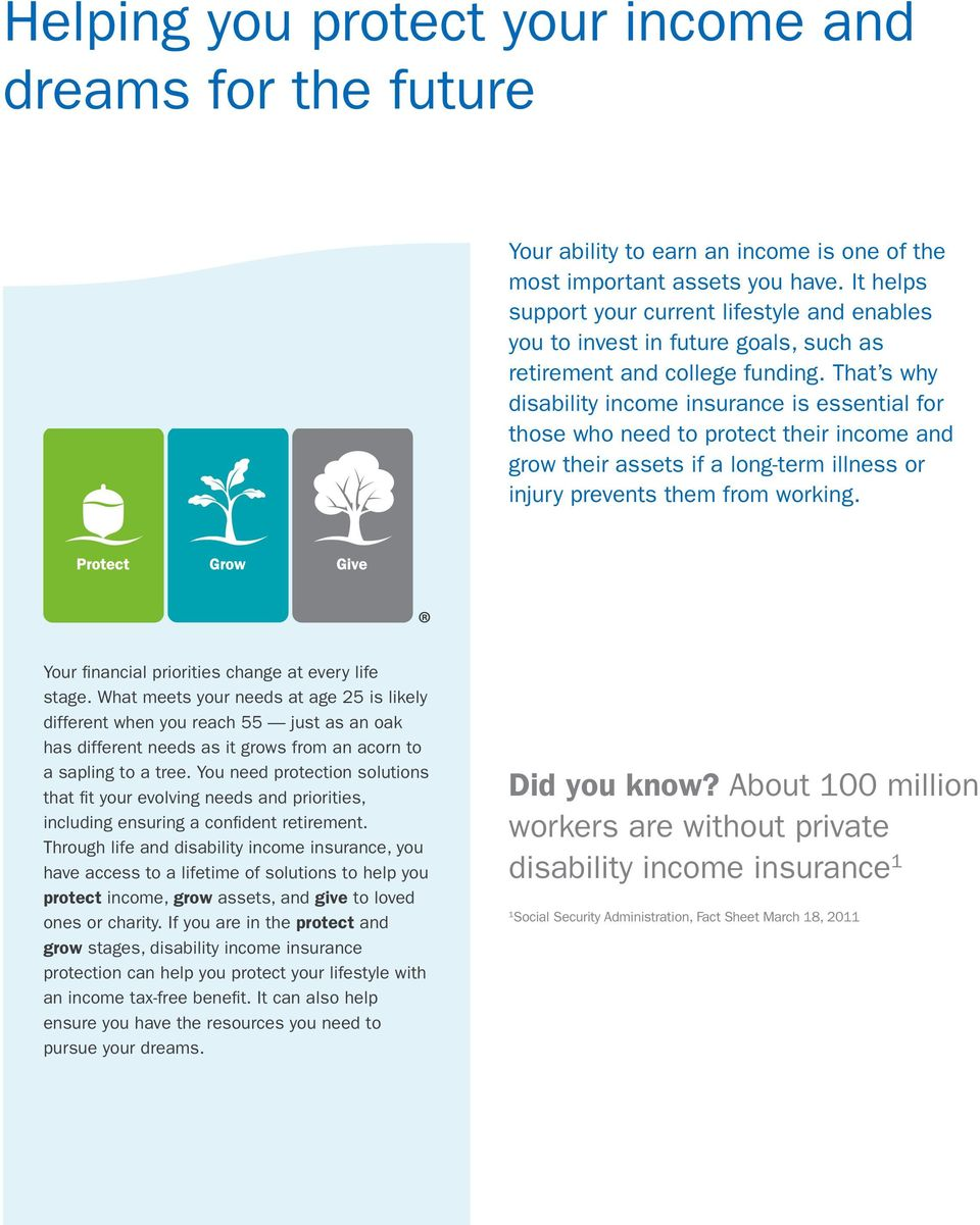 That s why disability income insurance is essential for those who need to protect their income and grow their assets if a long-term illness or injury prevents them from working.
