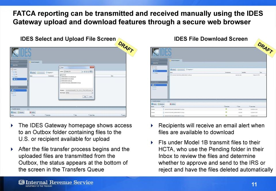transmitted from the Outbox, the status appears at the bottom of the screen in the Transfers Queue Recipients will receive an email alert when files are available to download FIs under Model 1B