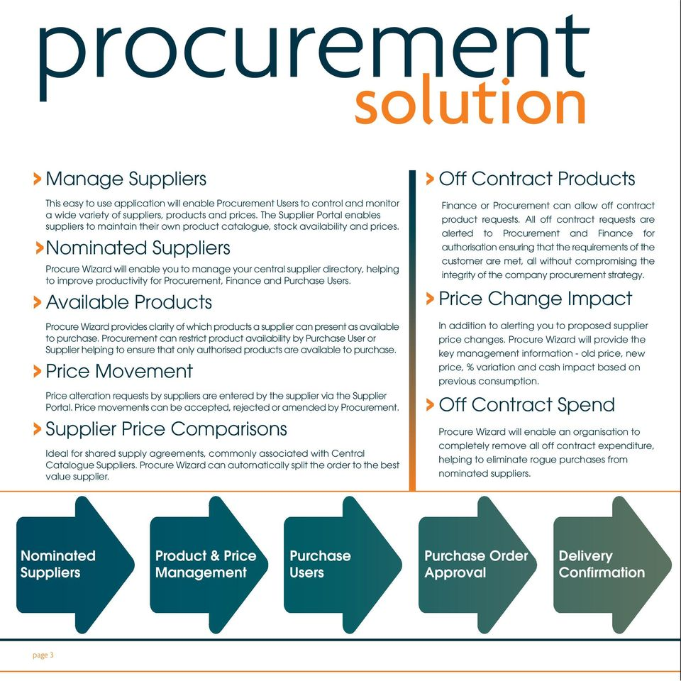 >Nominated Suppliers Procure Wizard will enable you to manage your central supplier directory, helping to improve productivity for Procurement, Finance and Purchase Users.