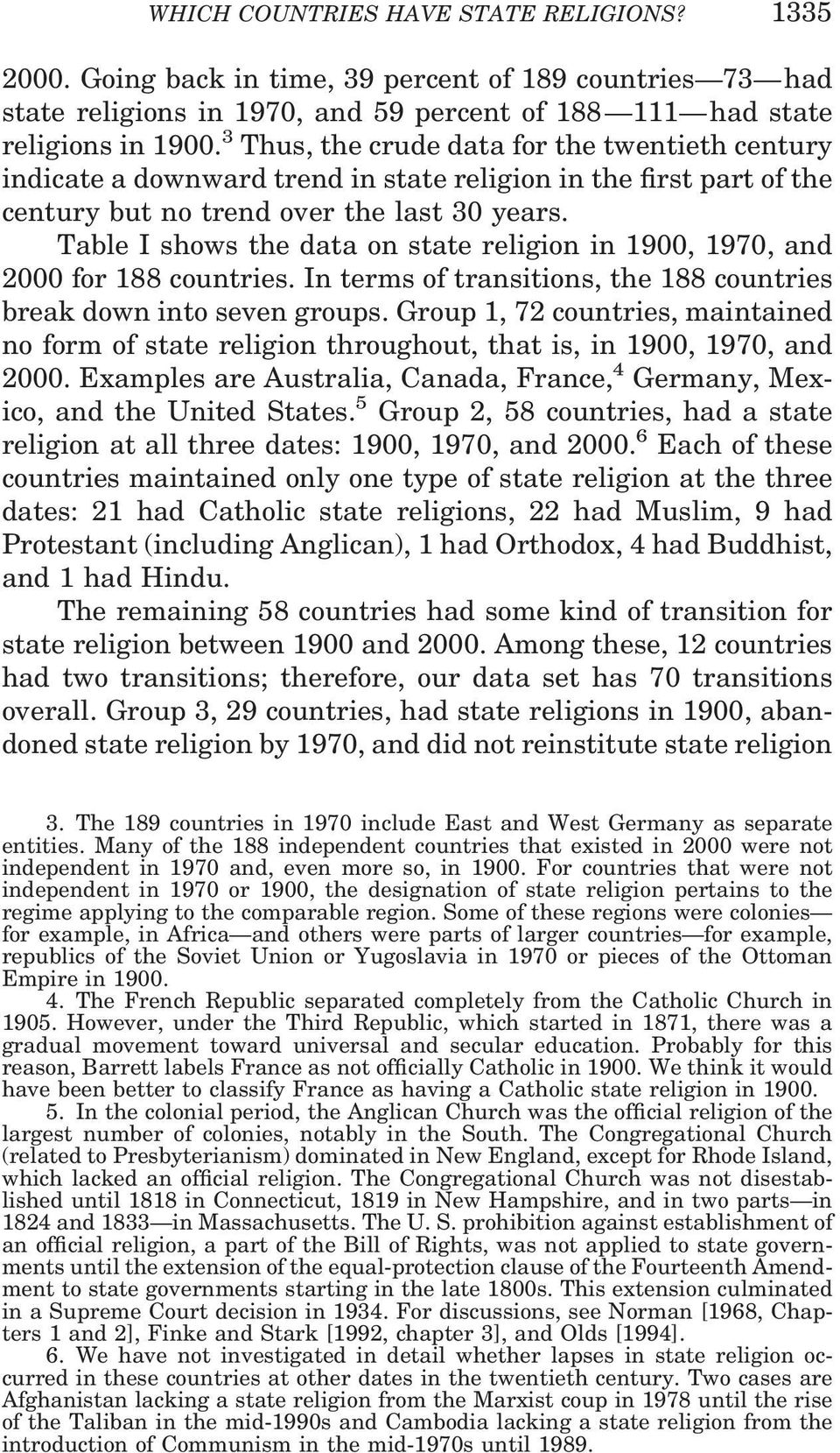 Table I shows the data on state religion in 1900, 1970, and 2000 for 188 countries. In terms of transitions, the 188 countries break down into seven groups.