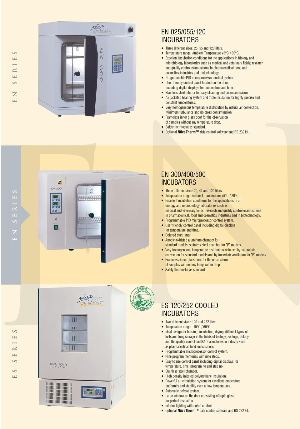 and cosmetics industries and biotechnology. Programmable PID microprocessor control system. User friendly control panel located on the door, including digital displays for temperature and time.