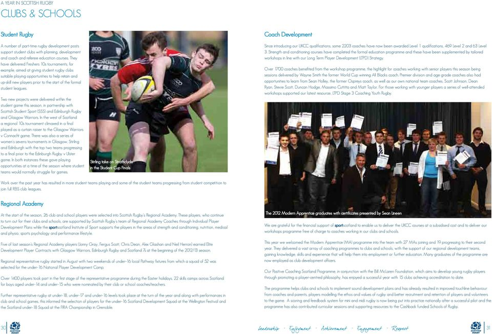 student leagues. Two new projects were delivered within the student game this season, in partnership with Scottish Student Sport (SSS) and Edinburgh Rugby and Glasgow Warriors.