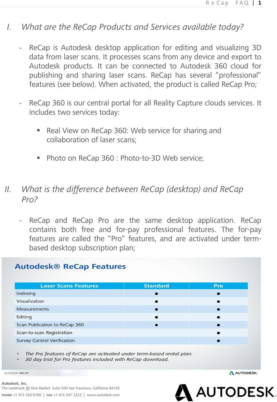 ReCap has several professional features (see below). When activated, the product is called ReCap Pro; - ReCap 360 is our central portal for all Reality Capture clouds services.