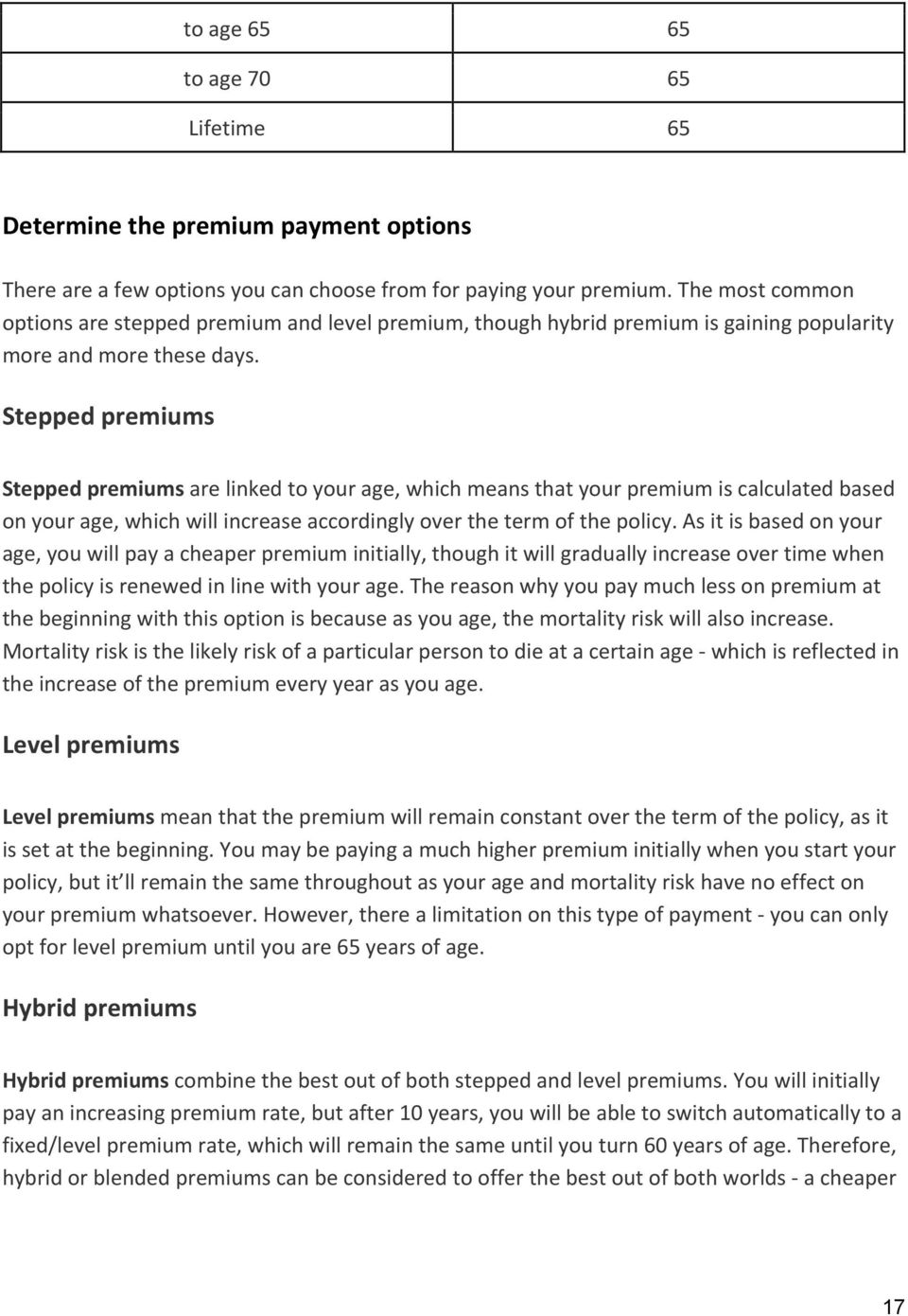 Stepped premiums Stepped premiums are linked to your age, which means that your premium is calculated based on your age, which will increase accordingly over the term of the policy.