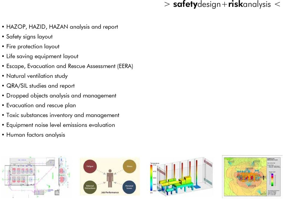 ventilation study QRA/SIL studies and report Dropped objects analysis and management Evacuation and