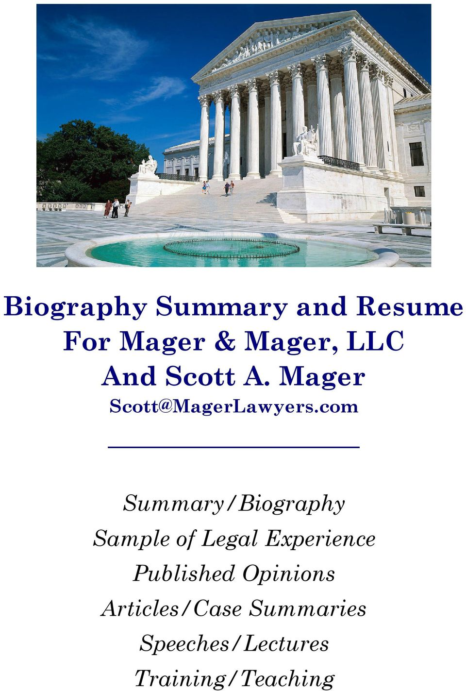 com Summary/Biography Sample of Legal Experience