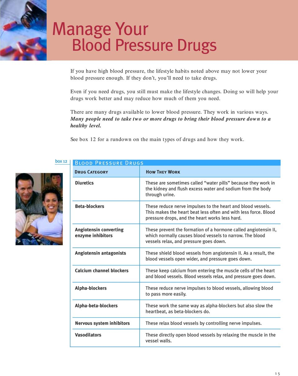 There are many drugs available to lower blood pressure. They work in various ways. Many people need to take two or more drugs to bring their blood pressure down to a healthy level.