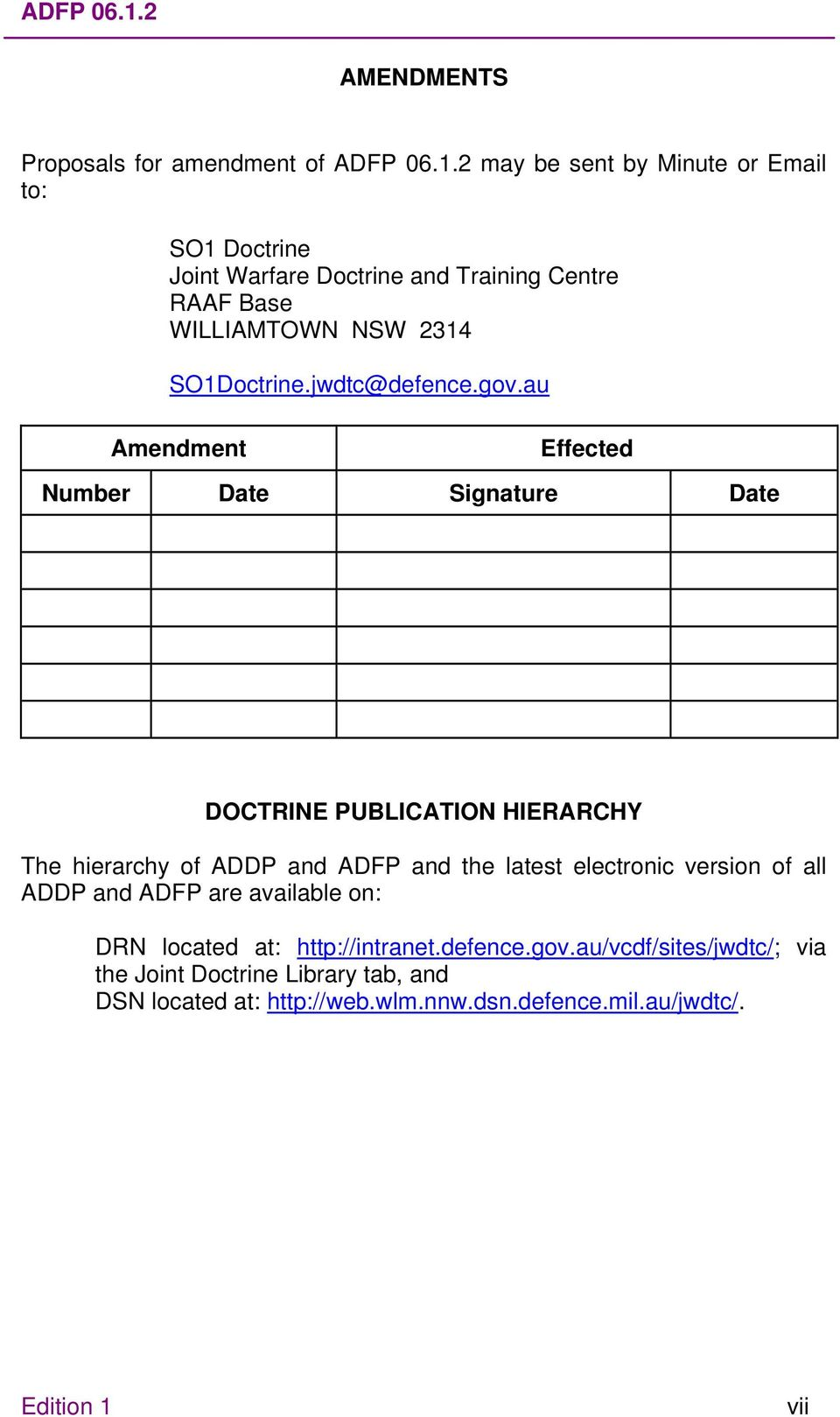 WILLIAMTOWN NSW 2314 SO1Doctrine.jwdtc@defence.gov.